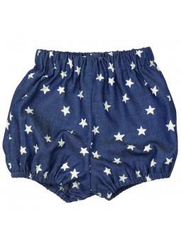 Paloma de la O. Cubre pañal jeans con estrellas estampadas