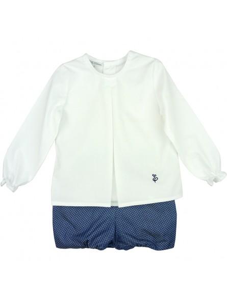 Eve Children. Conjunto de niño camisa blanca y short de lunares