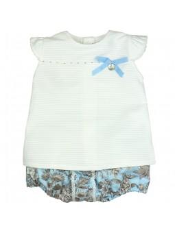 Rochy. Conjunto de bebé blusa blanca y braguita estampada celeste