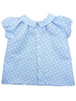 Paloma de la O. Camisa de bebé estrellas celeste