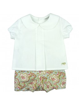 Eve Children. Conjunto camisa blanca y short estampado