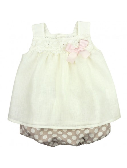 Rochy. Conjunto de bebé blusa de lino con bombacho camel con lunares blancos