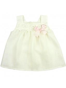 Rochy. Top de lino para bebé con lazo rosa