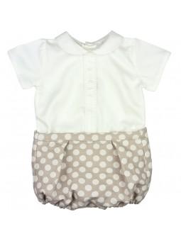 Rochy. Conjunto de bebé camisa blanca con short camel con lunares blancos