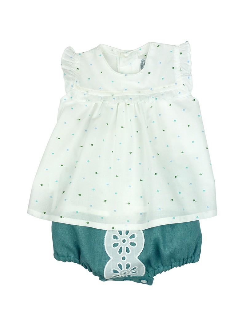 Rochy. Conjunto de bebé blusa blanca de plumeti y braguita de lino verde
