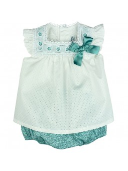 Rochy. Conjunto de bebé blusa blanca y braguita liberty