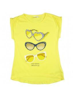 Camiseta amarilla con estampado gafas. iDO by Miniconf