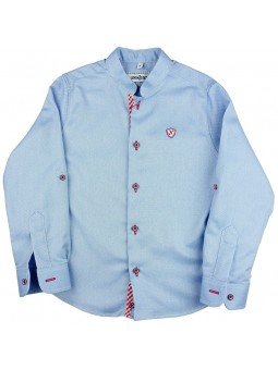 Nachete. Camisa celeste con logo bordado