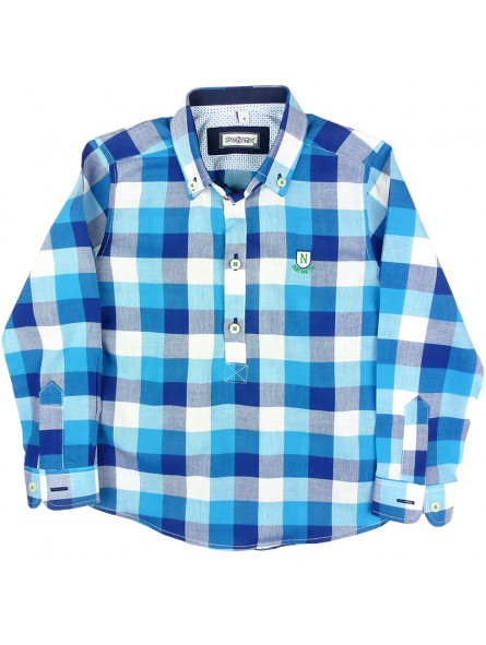 Nachete. Camisa de cuadros turquesa