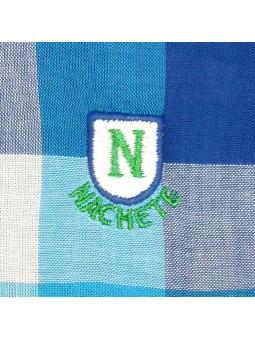 Nachete. Camisa de cuadros turquesa detalle logo bordado