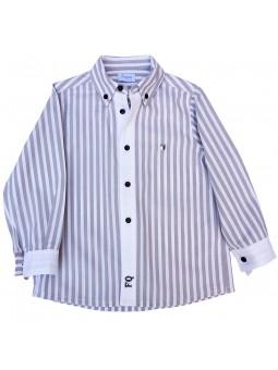 Foque. Camisa de rayas en moca y blanco