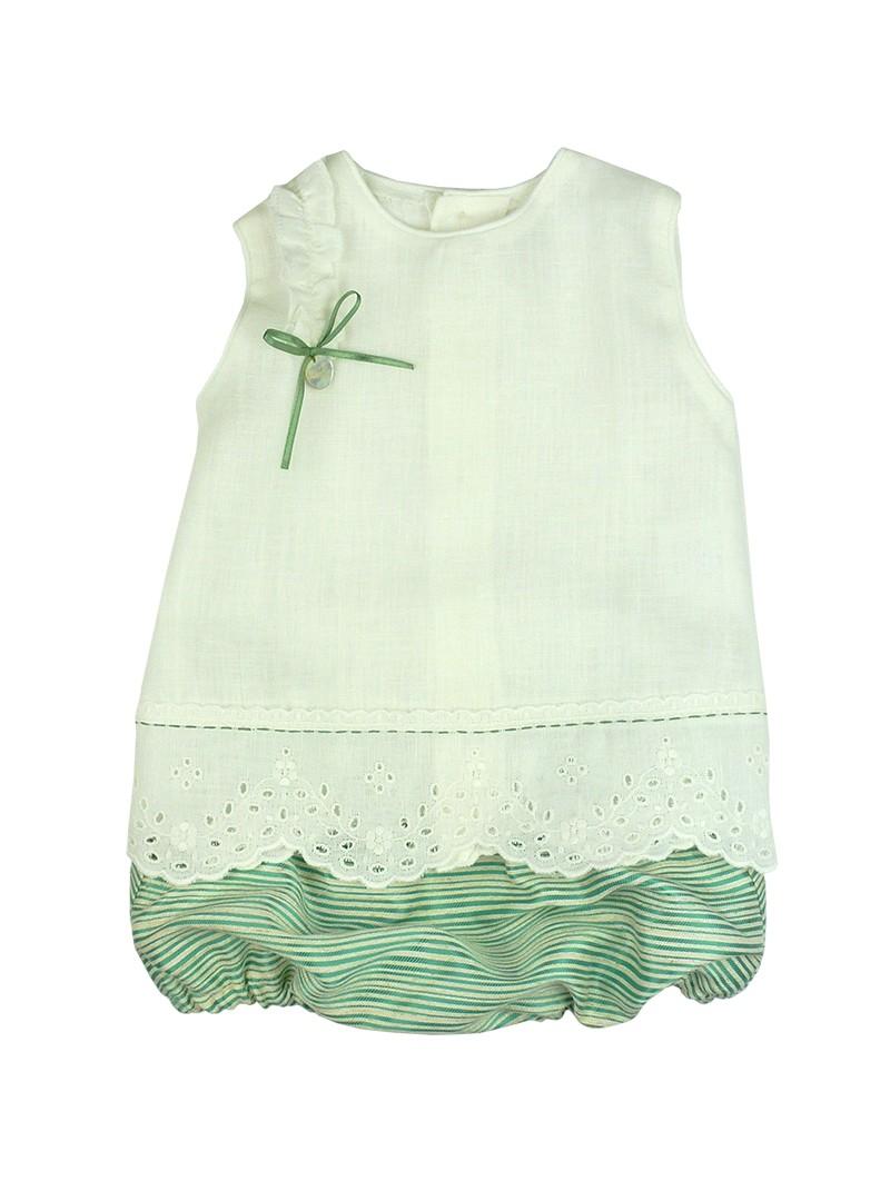 Rochy. Conjunto bebé camisa de lino y braguita de rayas verdes