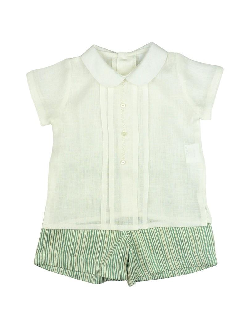 Rochy. Conjunto bebé camisa de lino y short de rayas verdes