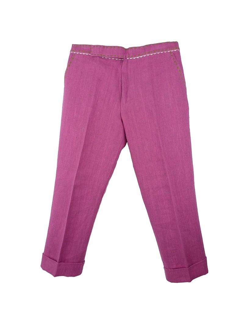 Larrana. Pantalón de lino fucsia