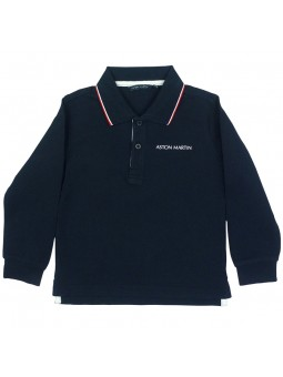 Aston Martin. Polo navy con manga larga