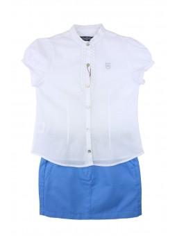 Falda azul con blusa blanca. Nachete
